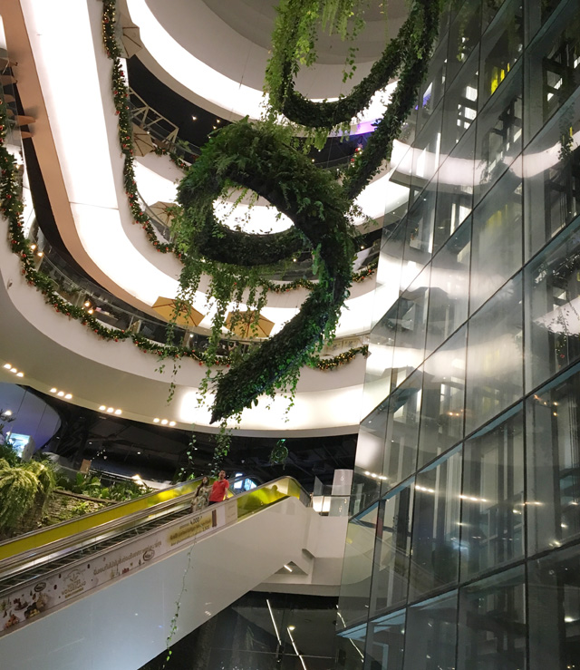 Looking up at several floors in a mall
