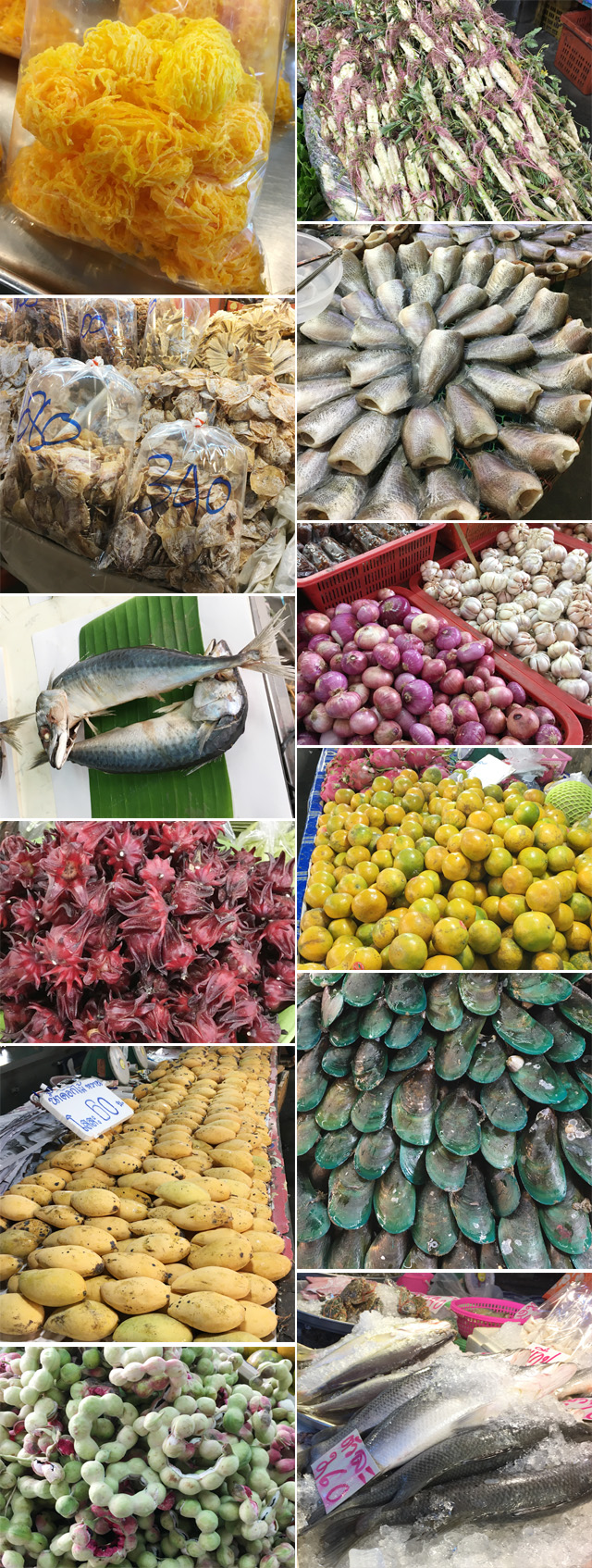Several photos of fruits, seafood, meat, vegetables, an dried foods