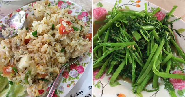 Two photos, fried rice on the left, and stirfried morning glory greens on the right
