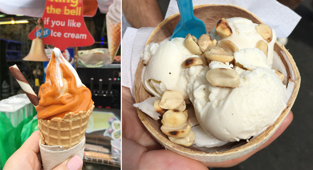 Two photos, a brown and white swirl ice cream cone on the left, a bowl of white ice cream and peanuts on the right