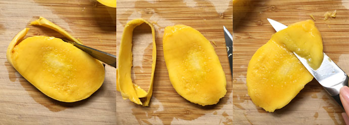 Three photos showing cutting away the peel from a mango and cutting the mango flesh off the pit