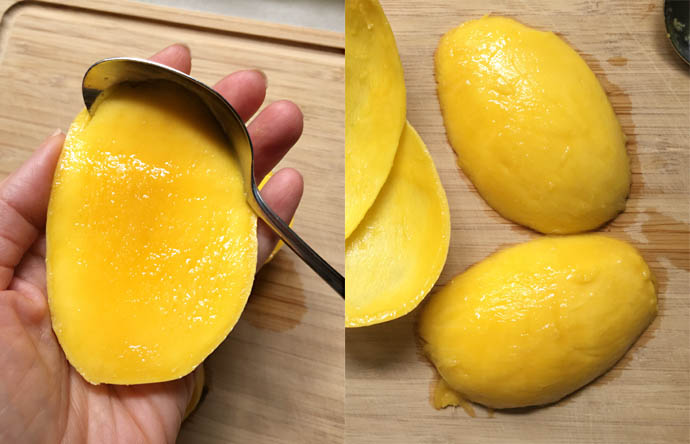 Side by side photos with a hand holding a section of mango and a spoon scooping out the mango flesh on the left, and two large chunks of mango and the peeled skin on the right