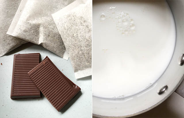An image on the left of two pieces of brown chocolate and three white tea bags, an image on the right of white milk in a pot