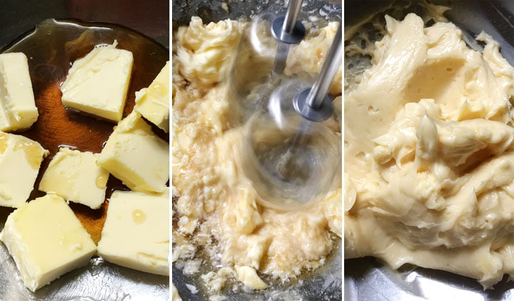 A three image collage showing creaming yellow butter with brown maple syrup