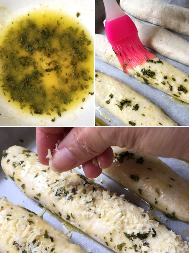 How to make gluten-free breadsticks, brushing breadsticks with melted butter and parsley and topping breadsticks with cheese