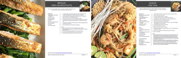 Pages samples show recipes and food photos from Asian food ebook