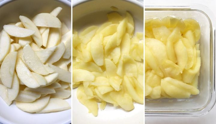Thin sliced raw apples in a pan, cooked apples in a pan, cooked apples in a square glass dish