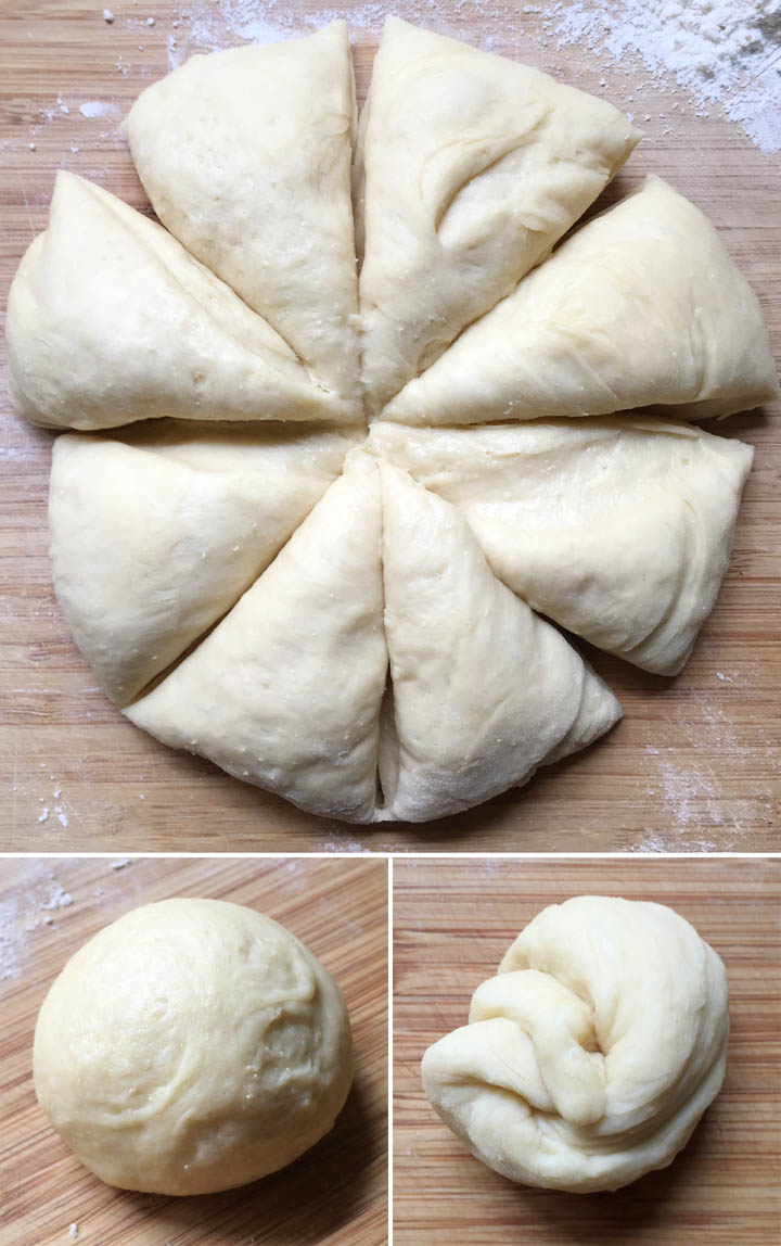 A large portion of bread dough cut into 8 sections, a dough ball, and a twisted dough ball