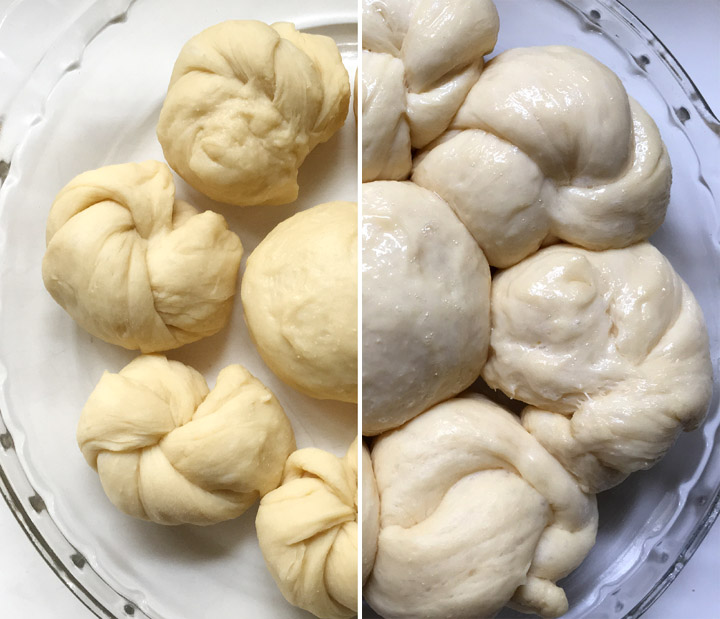 Bread rolls in a round glass dish, before and after rising time