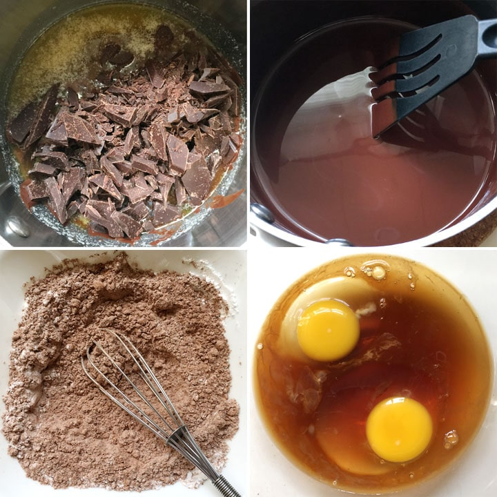 Collage of four images, chopped chocolate in melted butter in a pot, a black spatula in melted chocolate, brown flours in a bowl, two eggs in brown liquid in a bowl