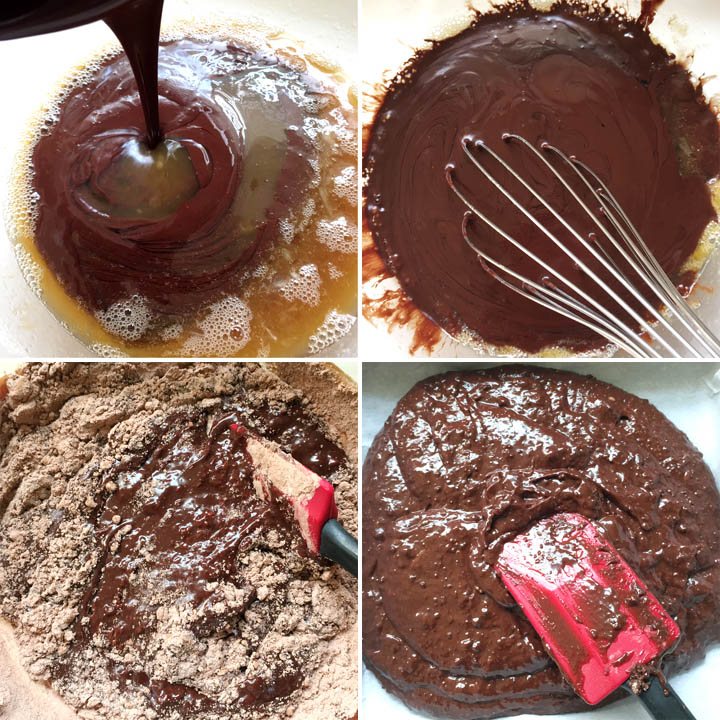 Collage: brown chocolate liquid being poured into a bowl, dark brown liquid in a bowl with a whisk, dry ingredients being stirred into brown chocolate liquid, brownie batter being spread into a pan with a red spatula
