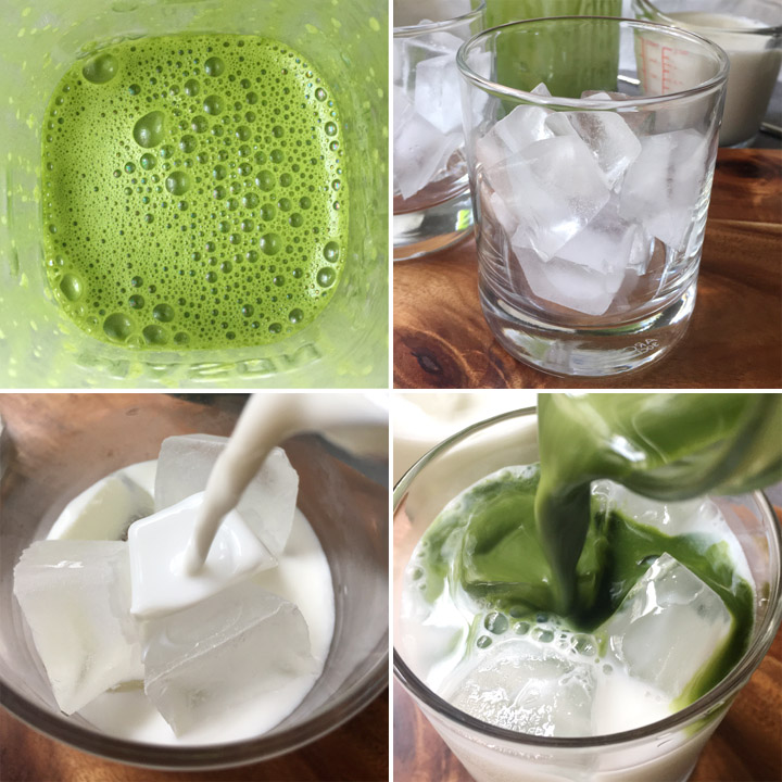 Collage of photos showing green tea and milk being poured into a short round glass containing ice cubes