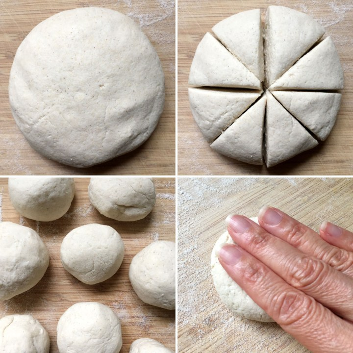 A round ball of off-white dough, cut into 8 wedges, rolled into circles, and a hand pressing down on a dough ball to flatten