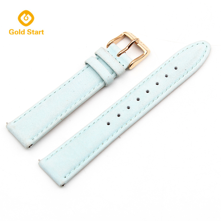 light blue 20mm genuine leather quick release watch straps