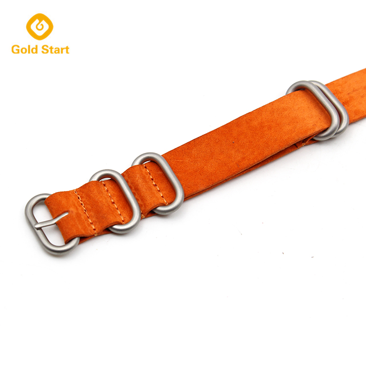 orange 5 ring zulu strap suede leather heavy duty matte