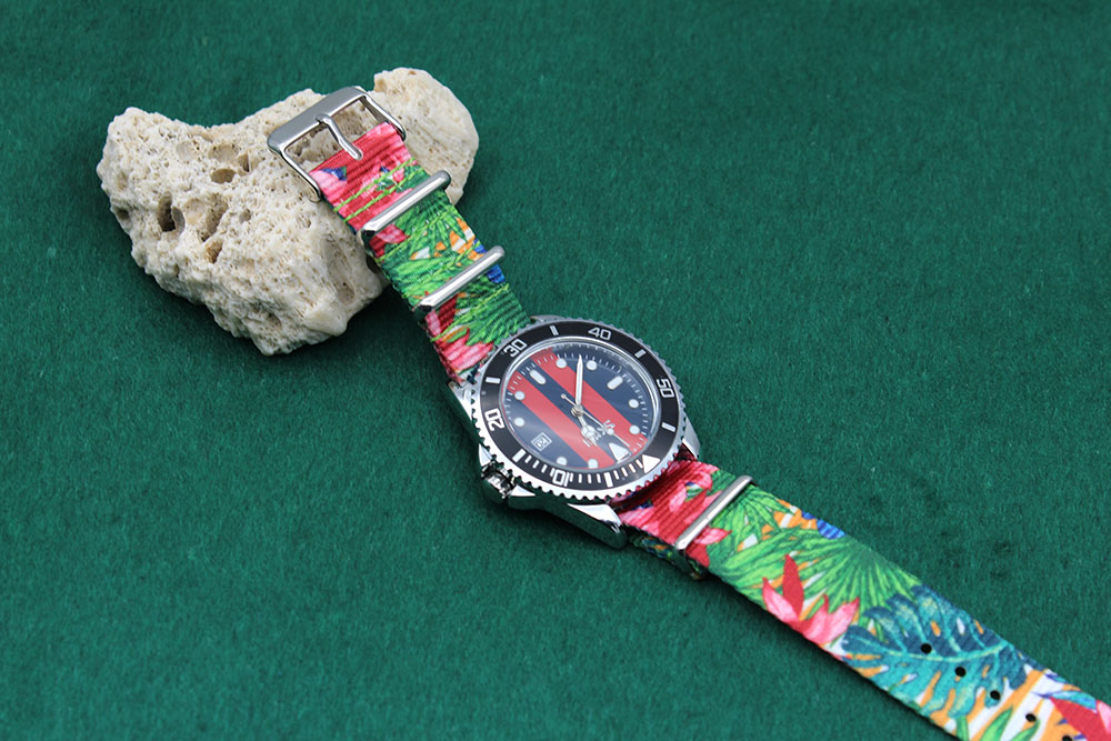 printed nato watch band green floral