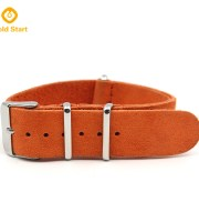 Orange suede leather band steel keeper and buckle
