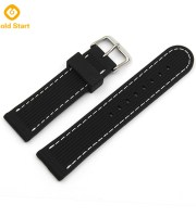 Black Silicone watch band factory white stitching