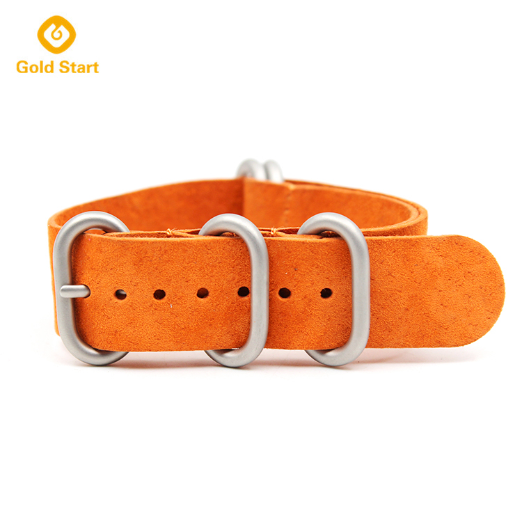 orange 5 ring zulu strap genuine suede leather heavy duty matt