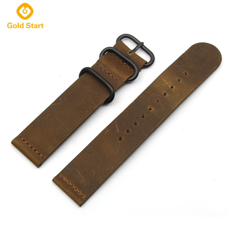 two piece zulu strap leather brown 20mm