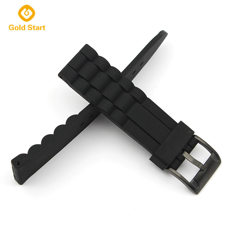 20MM PVD Black Silicone watch band manufacturer military