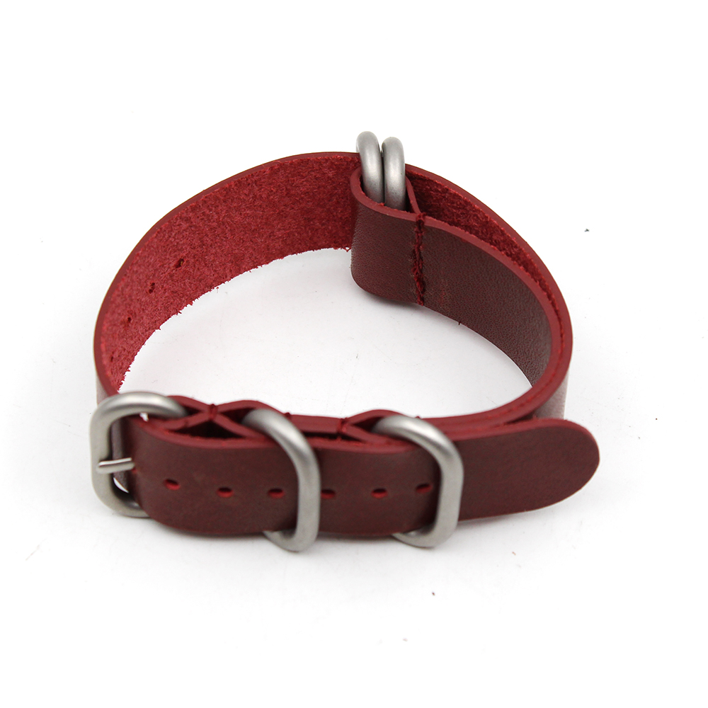 leather zulu strap red cowhide 1.6mm thick