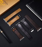 vintage leather strap steel buckle apple watch
