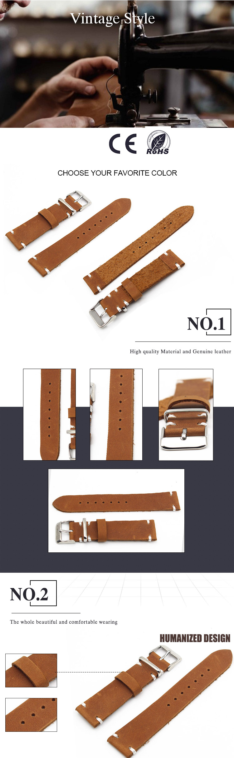 Vintage Calf Leather Watch straps