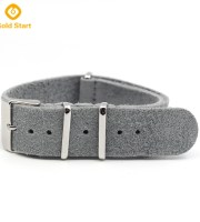 gray genuine leather suede nato strap