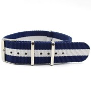 blue white nato strap striped nylon bond