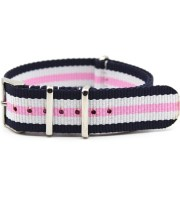 striped watch band blue white pink nylon james bond nato