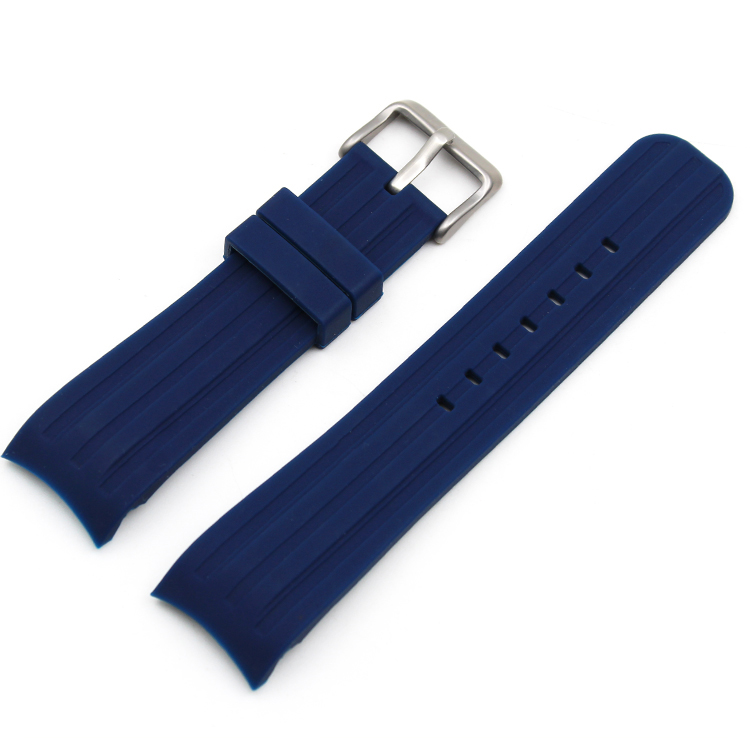 silicone watch bands curved end blue