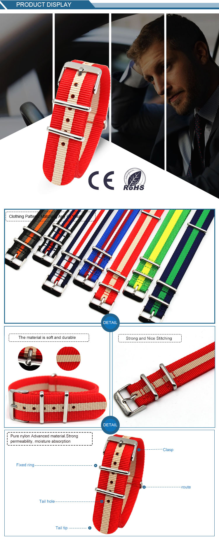 One Piece Nato Nylon watch bands 20mm