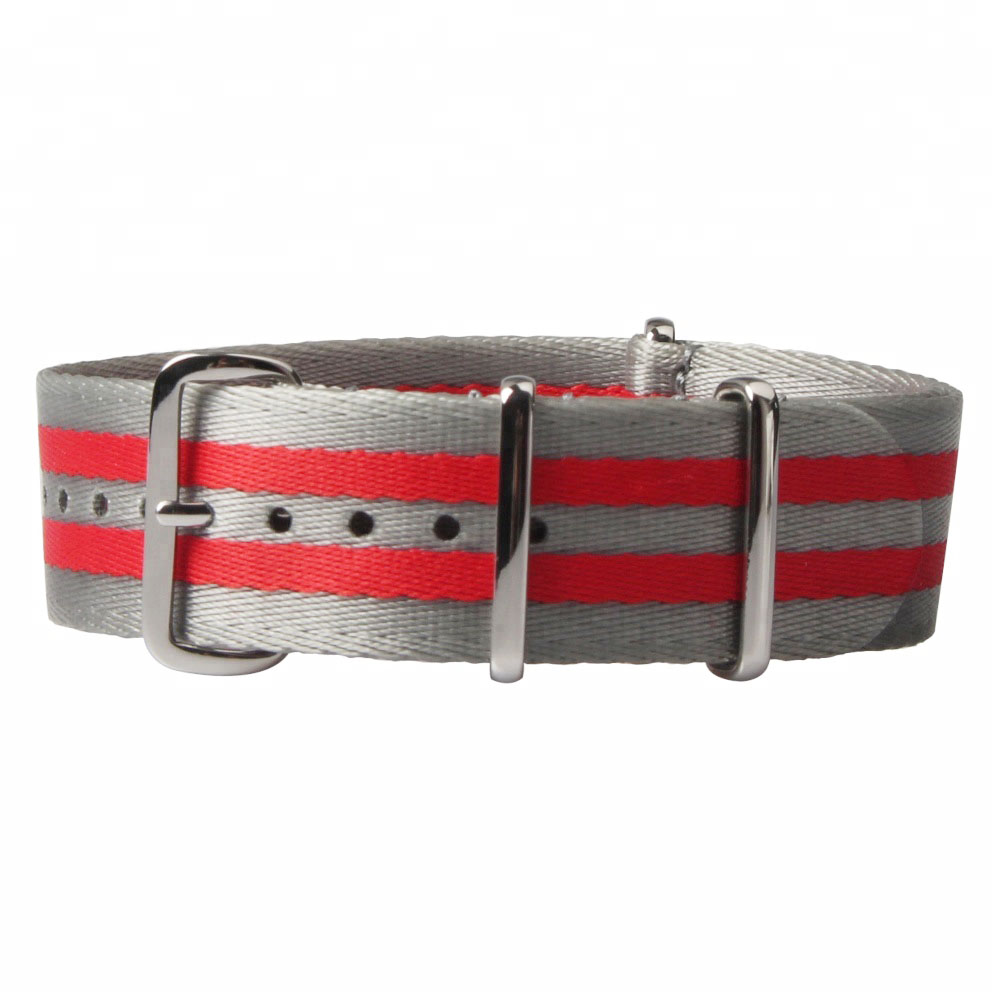grey red seatbelt nato wholesale watch strap nylon