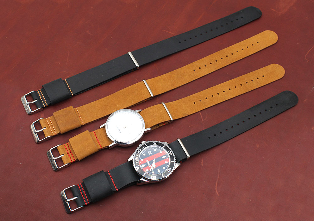 mens leather watch bands black Nato