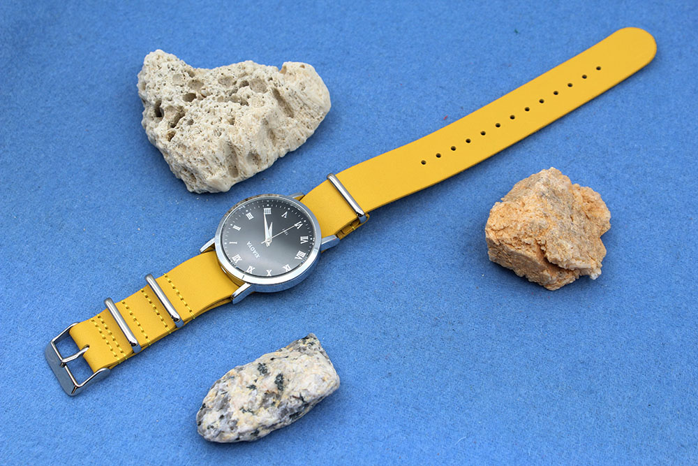 21mm nato strap yellow cow leather