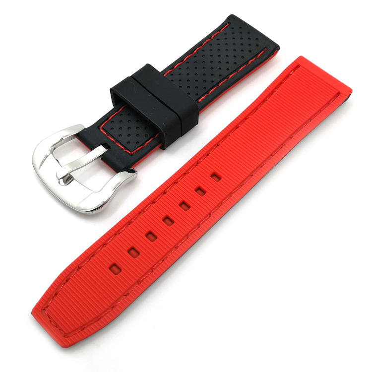 red sport watch strap tropic rubber 20mm