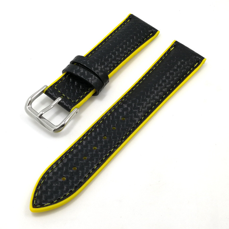 black yellow leather rubber watch bands replacement 22mm