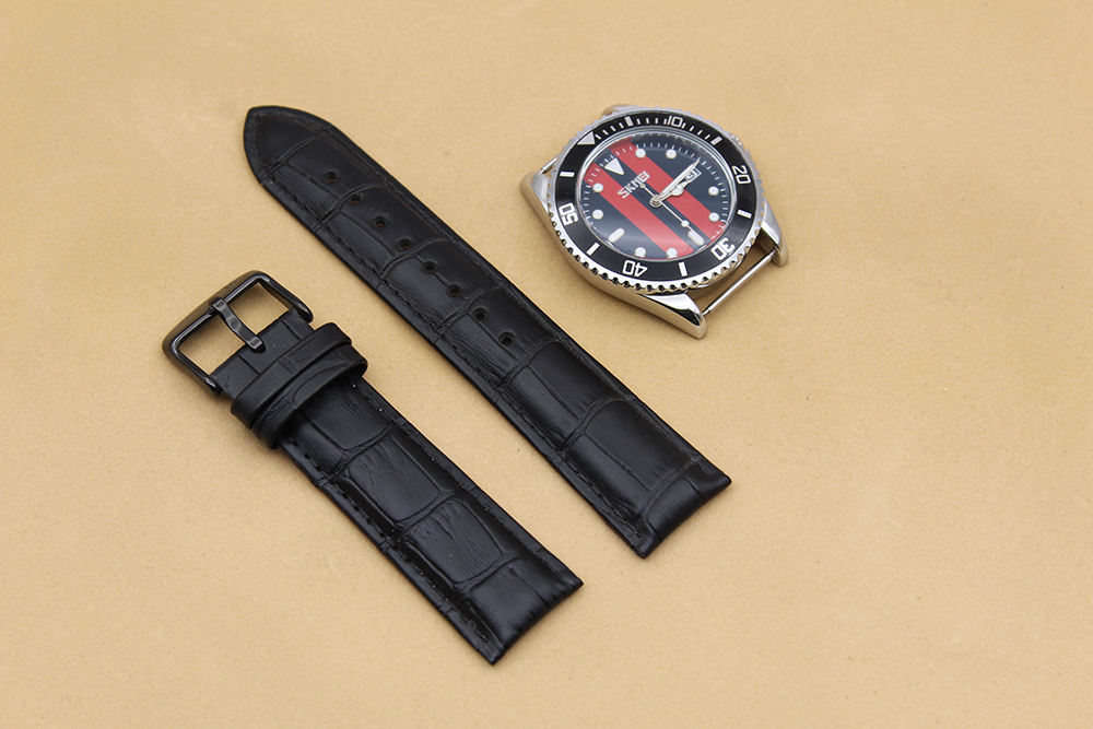 genuine crocodile watch strap black 20mm