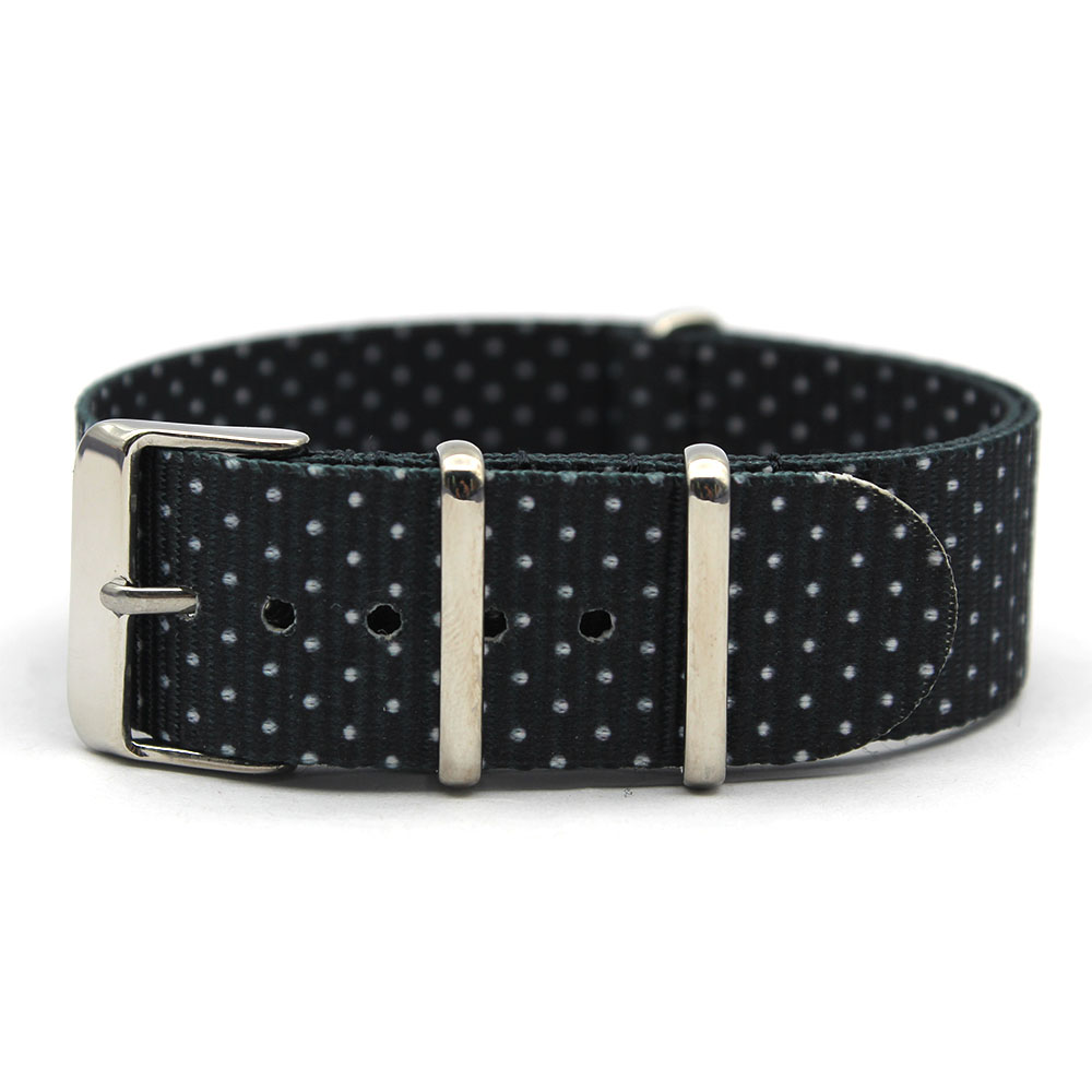 Black Nylon Watch Strap graphic nato black dot