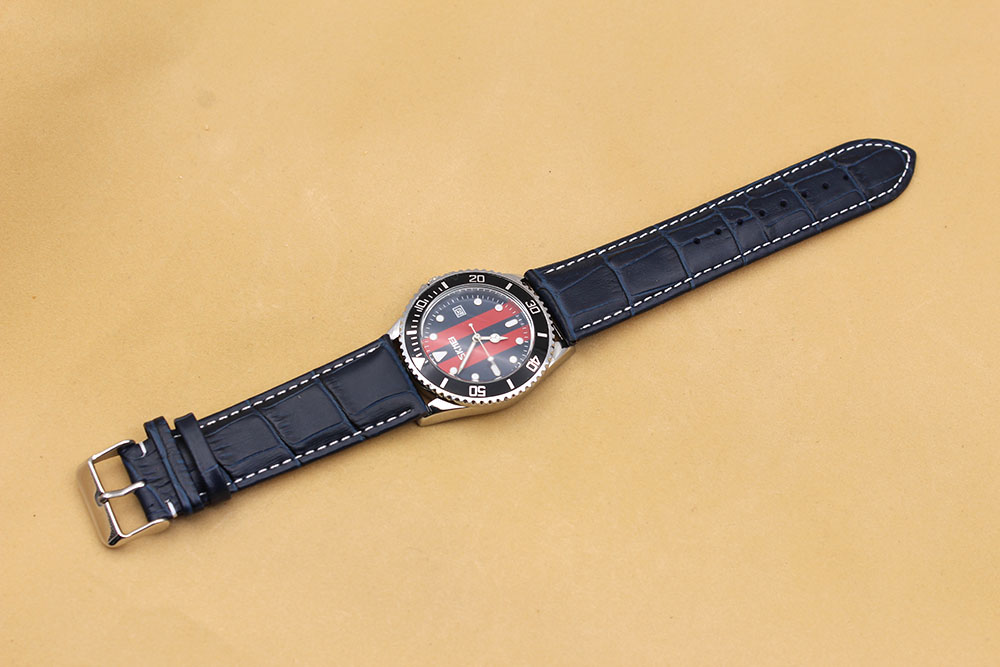 20mm navy blue alligator watch strap genuine leather calf