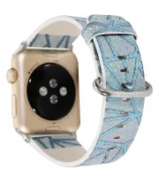 glitter iwatch band blue genuine leather apple watch
