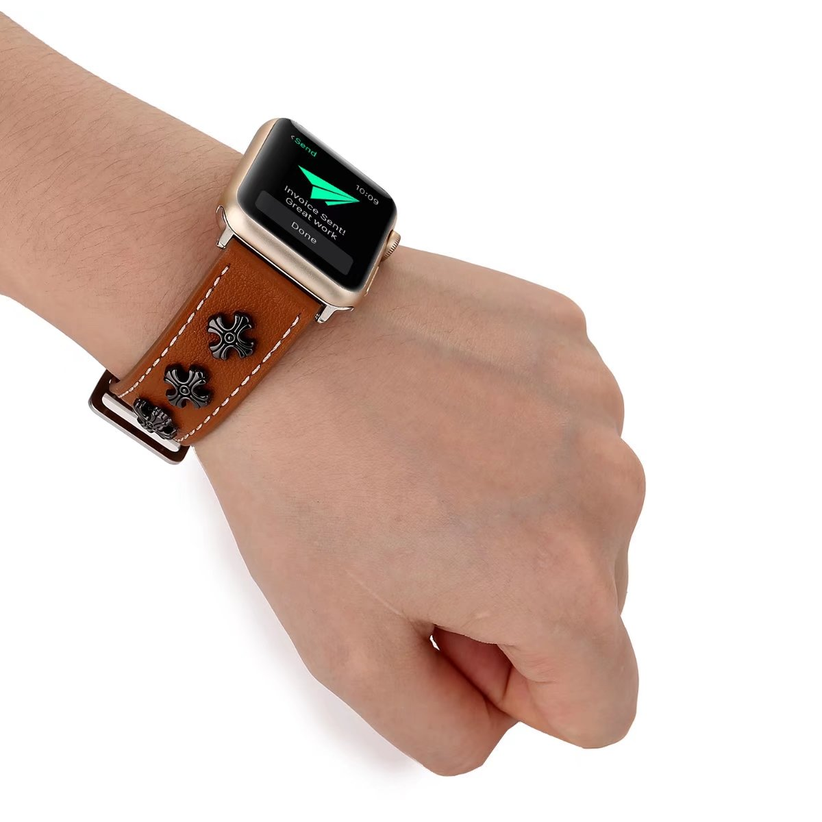 high quality brown leather apple watch band china