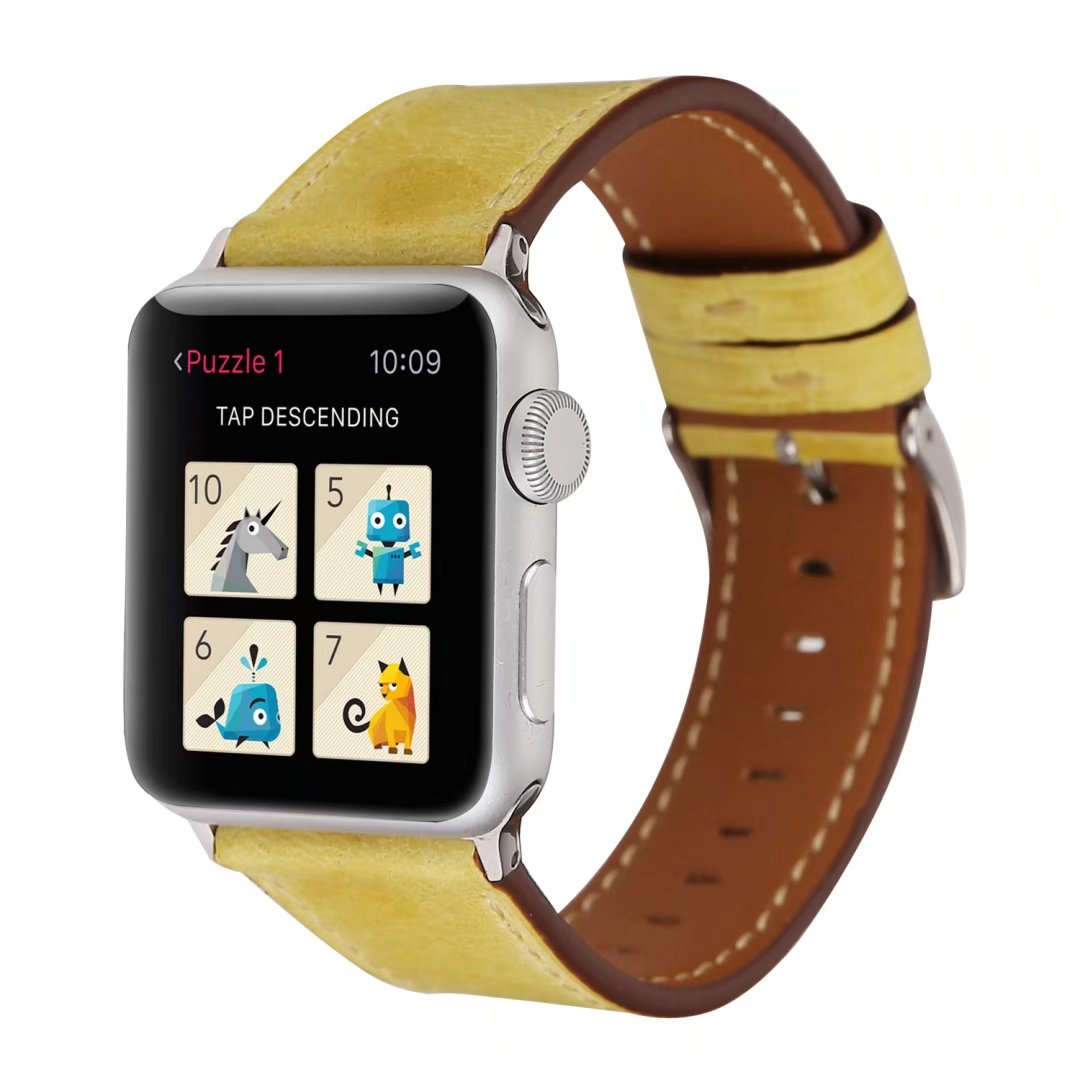 yellow watch strap Genuine leather apple watch 44mm