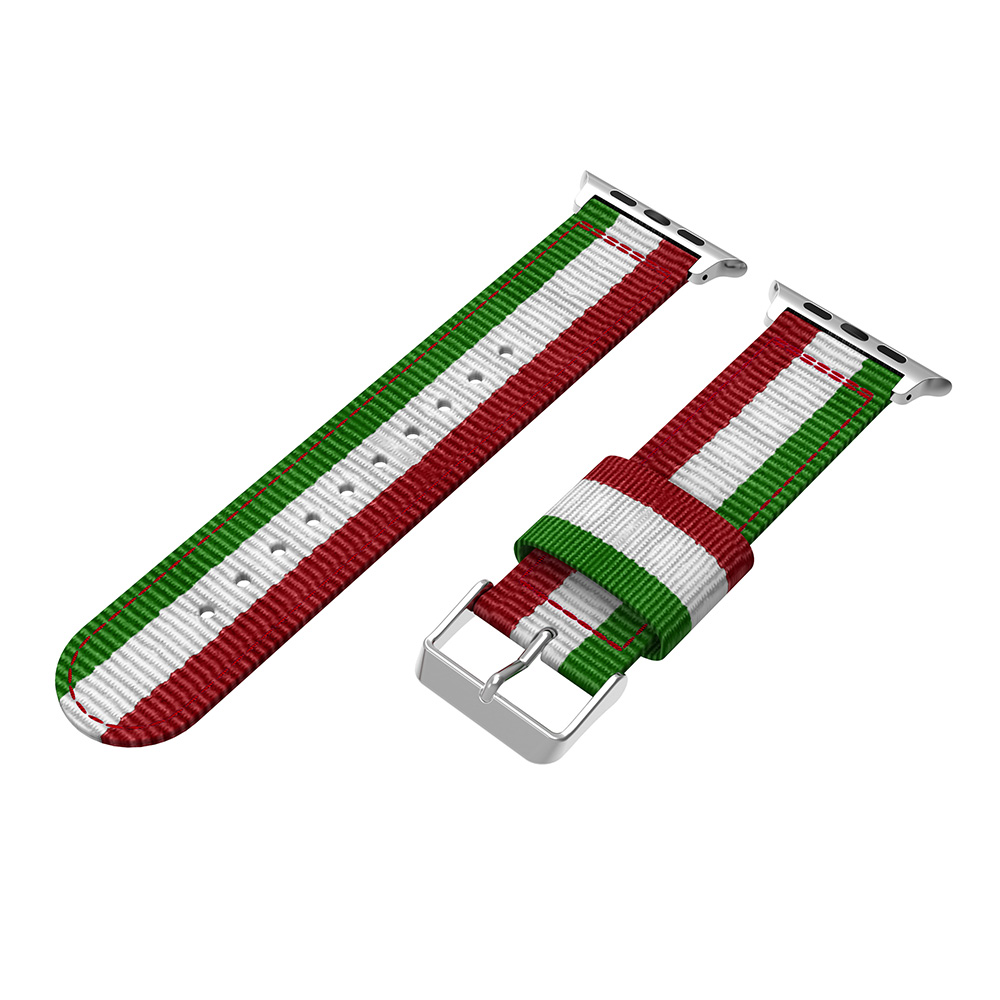 striped nylon watch bands green white red quick release two piece