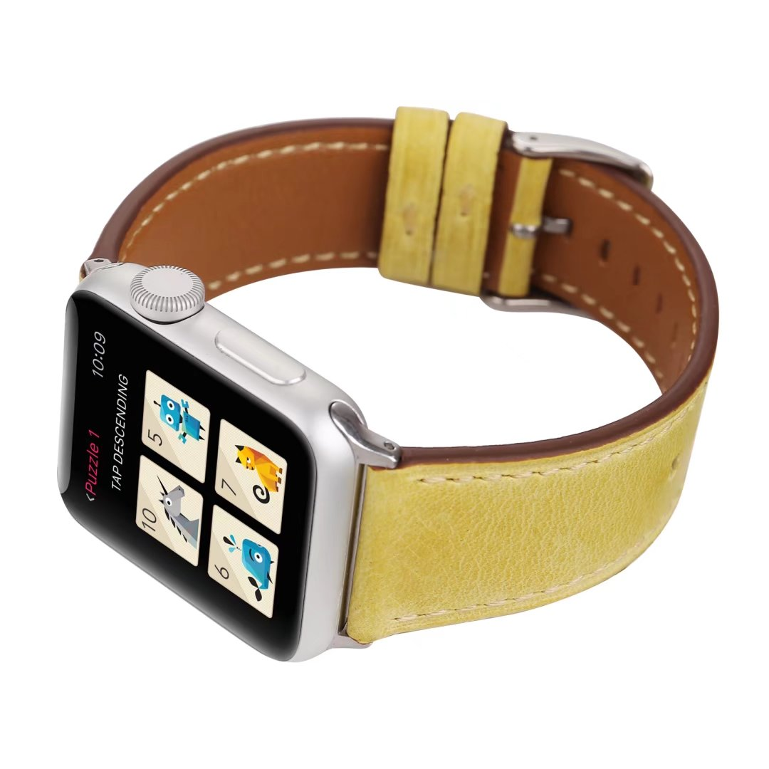 yellow watch strap Genuine leather apple watch 24mm