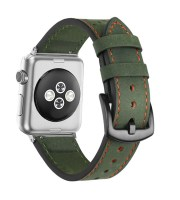 green leather strap vintage heavy duty racing apple watch
