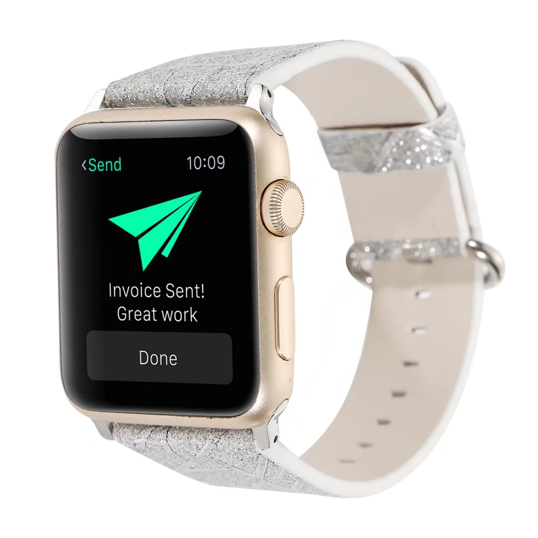 glitter apple watch band silver 44mm