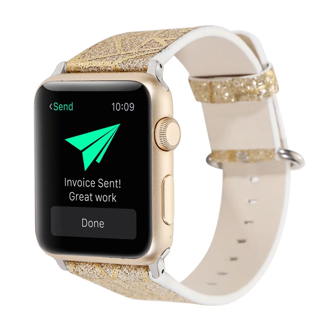 glitter watch band gold genuine leather apple watch 44mm