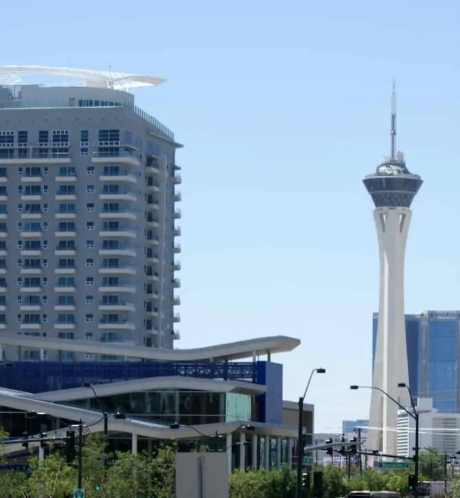 Stratosphere Tower from City Hall, Las Vegas, NV